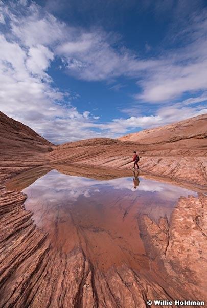 Boy Reflection Waterhole 102018 2166